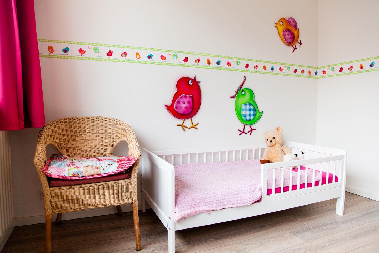 Lieve vogeltjes airbrush muurschildering in kinderkamer lief! meisjeskamer