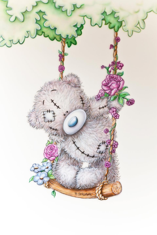 me to you beertje met boom en schommel met bloemen