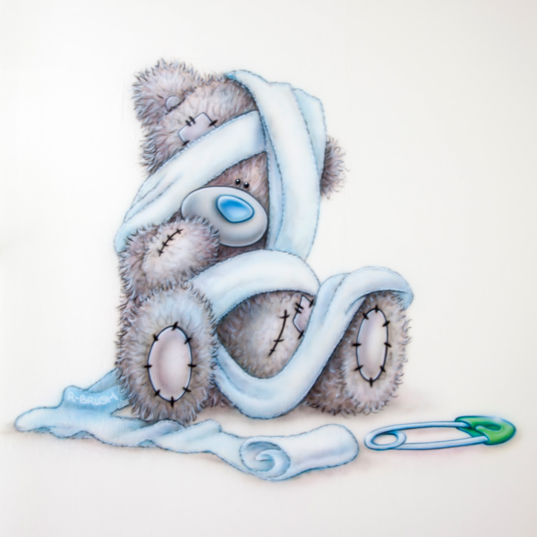Me to you beertje luier speld airbrush babykamer muurschildering
