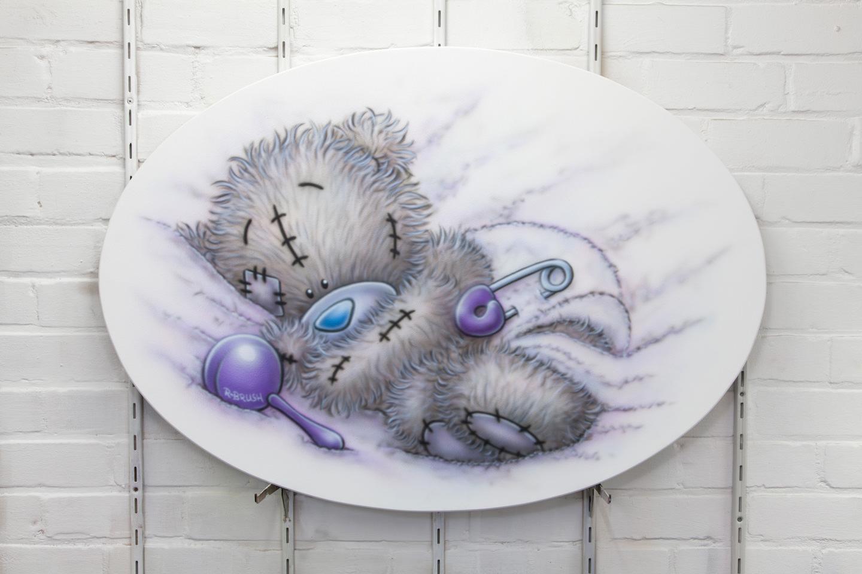 Airbrush me to you beertje schilderij op paneel babykamer
